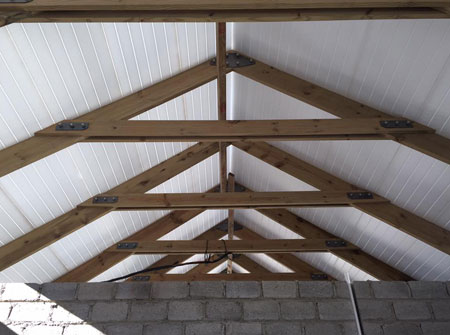 Cape Roof - Bolted Raised Trusses and Isoboard Ceiling