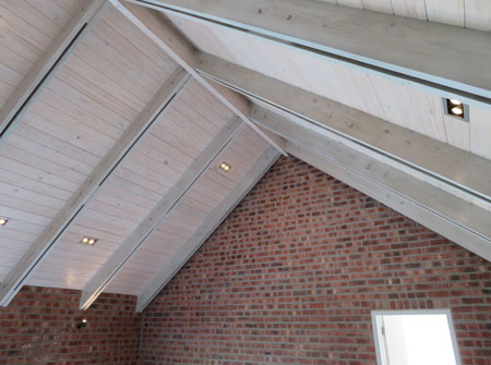 Cape Roof - Ridge Beam and Two Ply Rafters with Ceiling Boards
