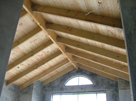 Cape Roof - Exposed Ridge Beam and Rafters with T and G Ceiling